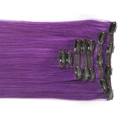 "Royal Purple:  21"" Clip In Hair Extensions - Celebrity Strands  - 1"