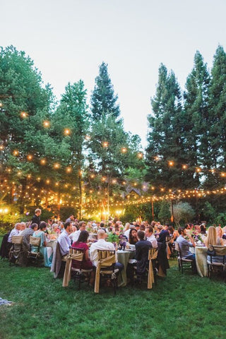 A lovely afternoon wedding party is celebrated with the radiant glow from festoon lights, swivelling around the tree branches to create the perfect woodland theme