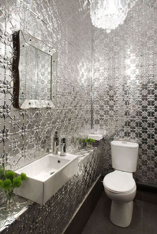 Aluminium pressed metal offers a great escape from the norm, adding a large dose of drama in your bathroom