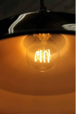 Australian first soft filament LED bulb. Dimmable. Four loops in LED filament bulb. For pendant light or on a string of festoon lights