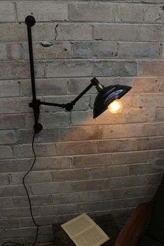 Bakelite Swing Arm Wall Lamp with Wall Plug ideal for rental properties or renting a home or renting a flat