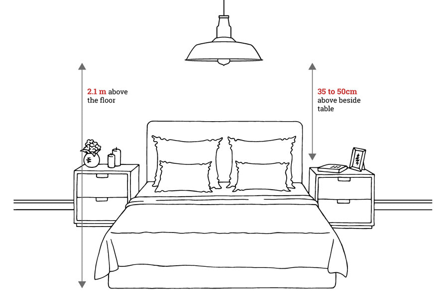 Bedroom pendant light measurement diagram