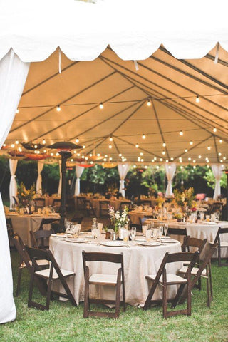 Bling out your canopy with a stretch of festoon lights just a few good meters overhead. Its ambient glow creates a soft, warm atmosphere that puts guests at ease. In this setting, festoon lights are used as the main lighting system, creating your own star-lit world as the night slowly falls.