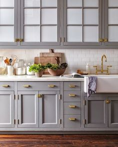 Choose brass as an accent for your hardware chest knobs, hanging shelves, faucets, and other small artefacts