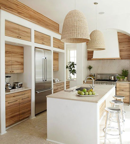Coastal chic kitchen, mmediately transform a simple decor into a coastal interior by adding a wicker pendant light! More wicker pendants found at fat shack vitnage
