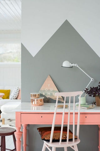 Cool, clean colours make this Scandinavian inspired home office perfect for the imaginative business owner