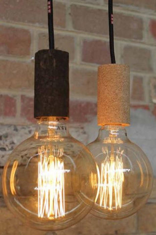 Cork pendant lights made of cork image via fat shack vintage