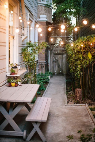 Create the perfect trail of lights for your garden with festoon lights. Perfect even for small spaces, festoon lights can set boring areas aglow with its sweet, sentimental charm.