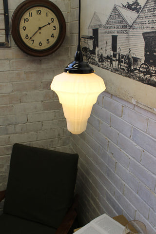 Deco Ceiling Pendant. Art deco. Milky glass shade. Online lighting Australia