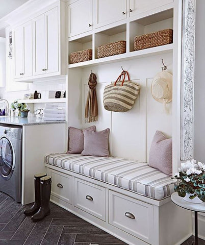 Design a place to rest. Instead of making your laundry room strictly for utility, why don't you utilize small corners as a haven to rest in-between chores