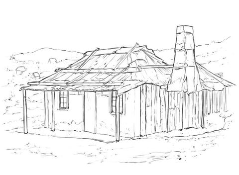 sketch of old colonial settlers cottage