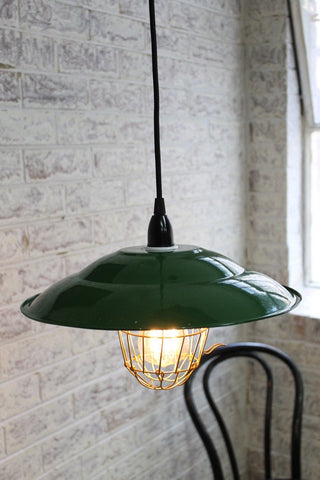 Enamel-Barn light a green pendant light ideal for home lighting or interiors with terracotta finishes