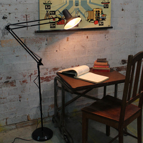 Floor lamp by a desk