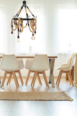 Rope chandelier for dining table