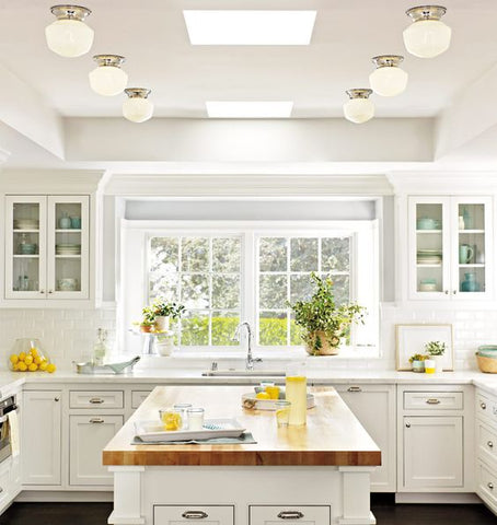 Flush mount lights differ in sizes--schoolhouse shades make great flush mount lights for kitchen lighting