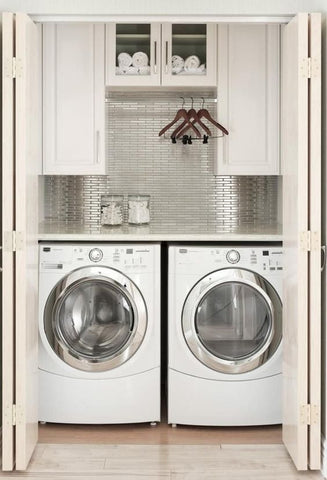 For small areas, create a laundry closet. An ample-sized closet can fit in your laundry equipment when you do not have enough space. Stack your washer and dryer on the top of each other