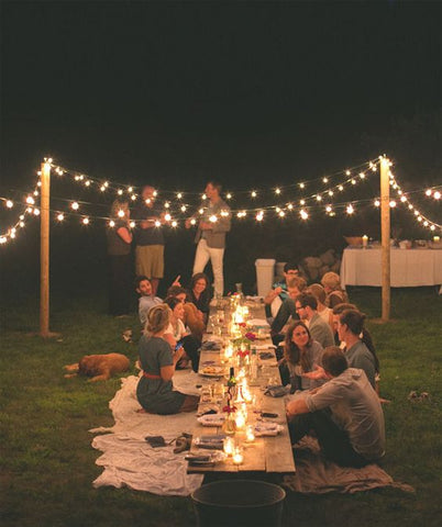 Great ambience created by festoon lights. More found at www.fatshackvintage.com.au