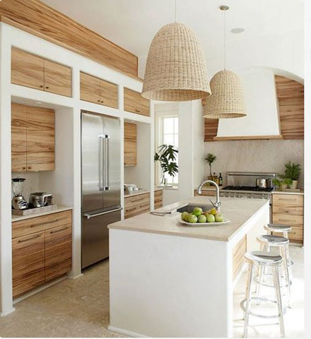 Holiday home kitchen with wicker pendant lights