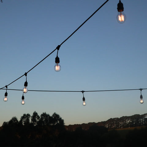 Festoon Lights in backyard