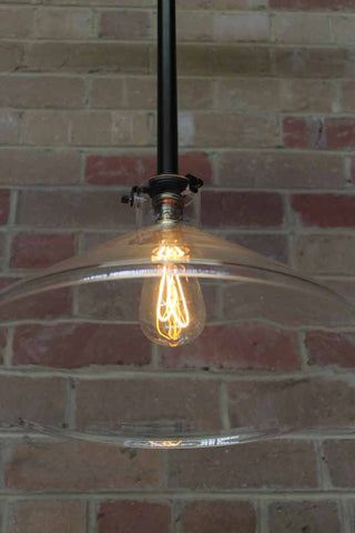 Industrial Lab funnel Rod Pendant Light with LED teardrop bulb