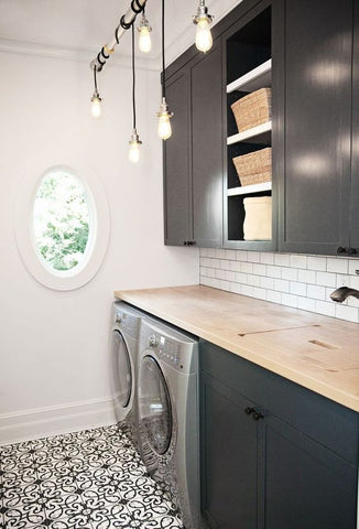 Install the right light for the task. It is important to choose task lighting for your laundry room, but it doesn't have to be bland. Flush mount lights are best used in these spaces. Tracklights