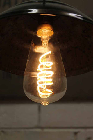 LED Bulb - Teardrop Spiral LED Filament in bakelite shade use for kitchen lighting, bedroom lighting.