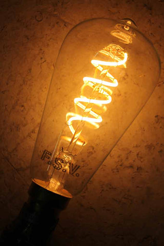 LED Bulb, LED Soft Filament Bulb - Spiral. Dimmable led bulb. lighting Melbourne. Soft LED filament. LED light bulbs for penant lighting, floor lamps, table lamps, ceiling lights, hanging lights