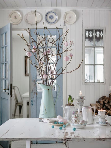 Let spring come in; create a pretty, pastoral vintage interior surrounded by light pastel colours. Douse your white wooden panelled room with colours of pinks, greens and blues.