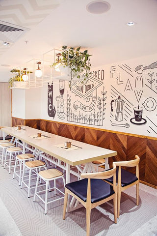 Milky glass ball lights and a large wall mural, a giant chalkboard canvass, a mix-and-match of chairs--let your creative preferences shine in your restaurant decor