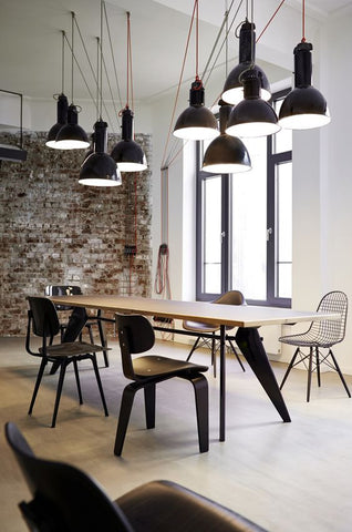 Multi Light Pendants used in an industrial style office or conference room