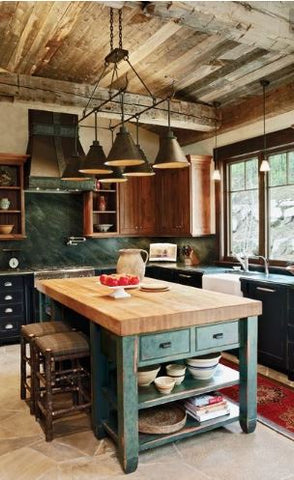 Raw wood and stone elements plays a great role in rustic homes. The weathered texture showcases a scuffed, rough, mountain cottage feel, bringing nature inside your favourite space