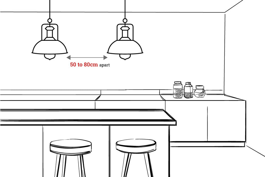 Space between pendant lights measurement diagram