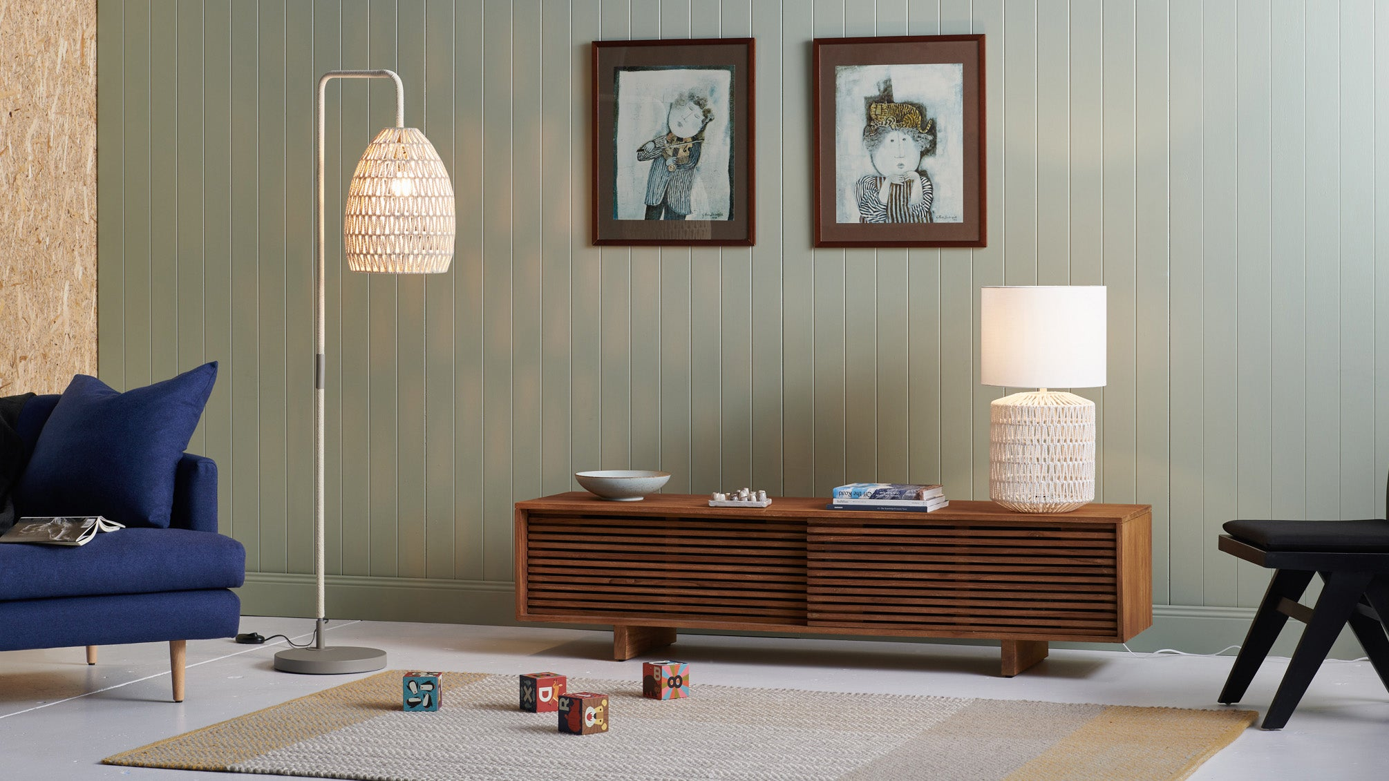 Table and floor lamp in living room