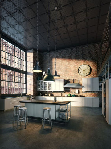 industrial kitchens make a statement with your industrial lighting choices t fat shack vintage. Black Bedroom Furniture Sets. Home Design Ideas