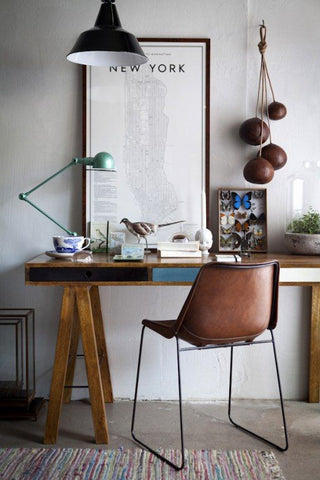 industrial lighting and desk lamps in home office