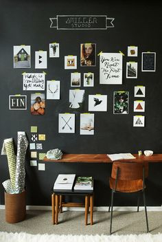 This black wall works wonders! It makes pictures pop out and is perfect for designers