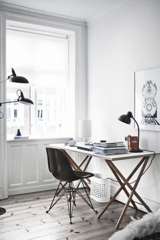 This straightforward desk space is perfect for writers. Need a table or floor lamp to complete the look See more at www.FatShackVintage.com.au