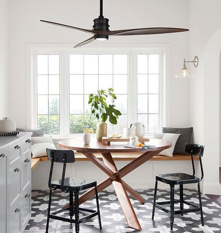 We are loving the dark wood material on this chic modern ceiling lamp that doubles up as a lighting fixture. That's like hitting two birds with one stone.