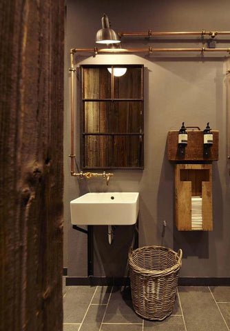 Wood is an essential part of industrial design, industrial bathroom design