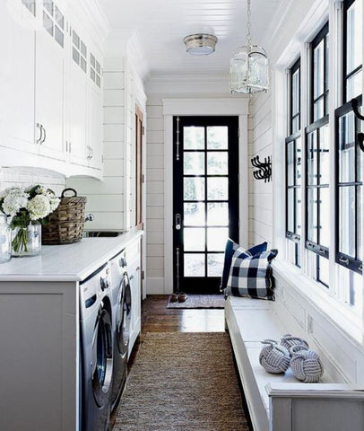 Your laundry room can also be your mudroom; this is practical because you can easily hang clothes or place them directly in the washer when they get stained