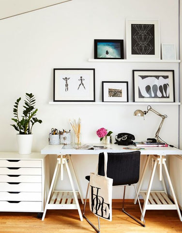 a chic home office with retro finishing. Industrial table lamp and more like it found at www.fatshackvintage.com.au