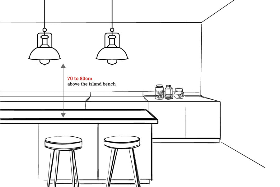 Kitchen bench pendant light measurement diagram