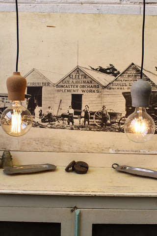 Small industrial pendant lights - cork & concrete