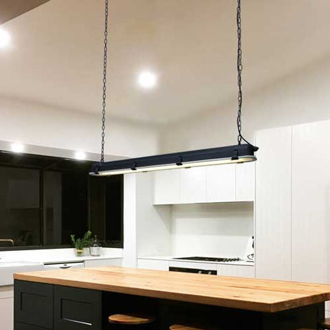 Linear Pendant Light in Kitchen