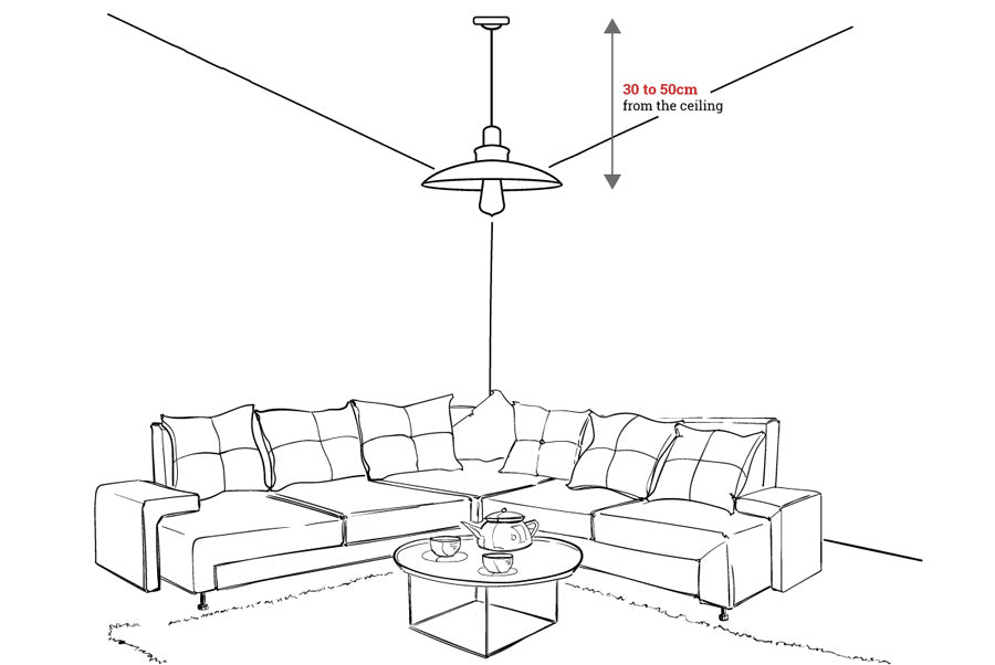 Pendant Lights above the floor measurement diagram