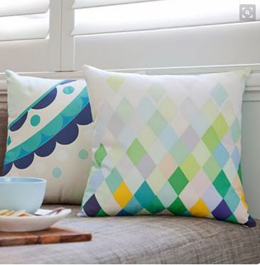 Geometric cushions for a quick and economical way to update
