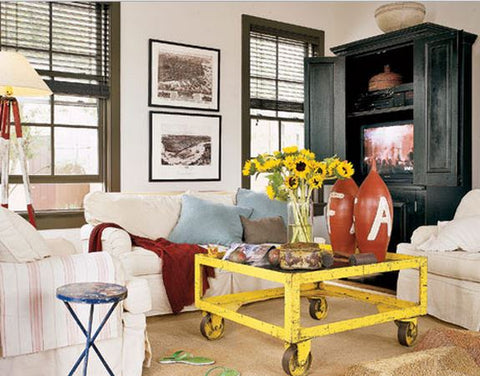industrial coffee table in living room