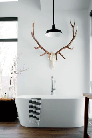 light up your bath with an ample ambient lighting as you take your bedtime soak. Choose modern lighting designs that won't be intrusive to your décor, just like this enamel pendant light.. M