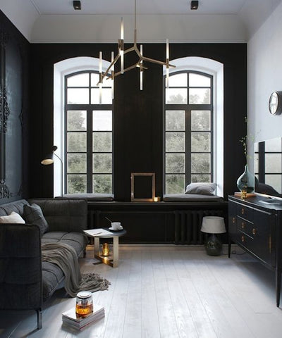 masculine interior colours are usually stark and serious white, black and greys play a dominant role.