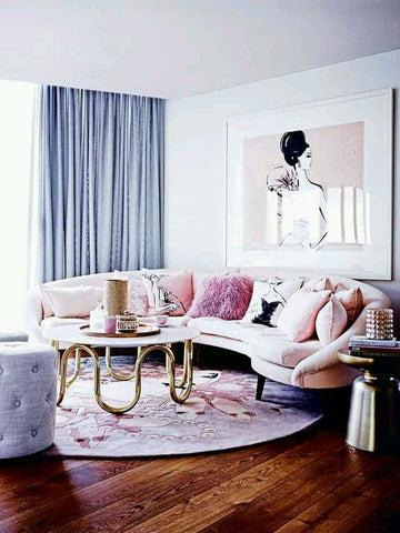 Pastel-inspired room glowing with easy-to-the-eye pinks, blues ad copper accents